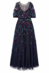 Marchesa Notte - Bead-embellished Embroidered Tulle Gown - Navy