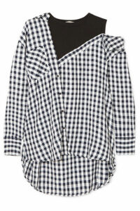 Maje - Layered Gingham Crepe And Cotton-blend Jersey Blouse - Black