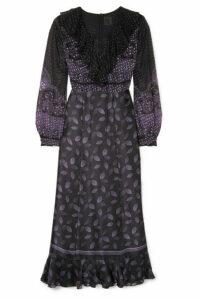 Anna Sui - Fountains Of Fancy Fil Coupé Silk-blend Chiffon And Silk-satin Maxi Dress - Black