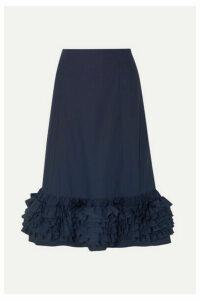 Molly Goddard - Nora Ruffled Cotton-poplin Midi Skirt - Navy