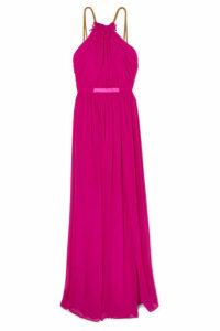 Haney - Emeline Embellished Silk-chiffon Halterneck Gown - Fuchsia