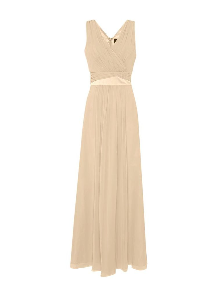 Ariella V neck jersey maxi dress, Cream