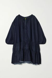Galvan - Majorelle Gathered Floral-print Plissé-satin Midi Dress - Baby pink