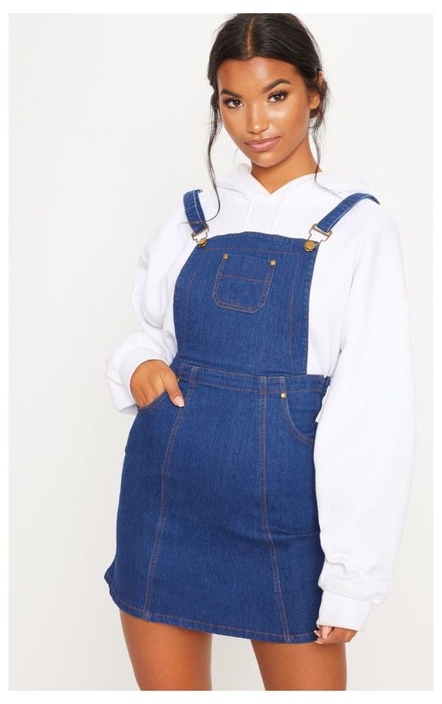Martine Indigo Blue Denim Pinafore Dress, Indigo