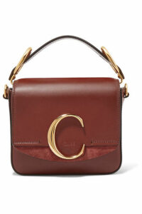 Chloé - Chloé C Mini Suede-trimmed Leather Shoulder Bag - Brown