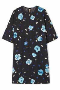 Marni - Floral-print Cotton Mini Dress - Blue