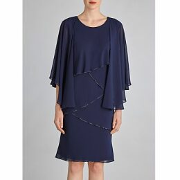 Gina Bacconi Chiffon Shawl and Beaded Edge Dress, Navy
