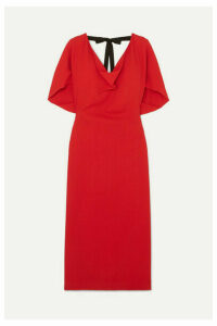 Roland Mouret - Marianna Grosgrain-trimmed Draped Stretch-crepe Dress - Red