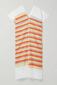 Mes Demoiselles - Esmeralda Lyrical Striped Metallic Cotton-blend Dress - Midnight blue