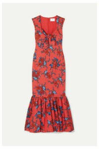 Rebecca de Ravenel - Tie-detailed Floral-print Cotton-blend Maxi Dress - Red