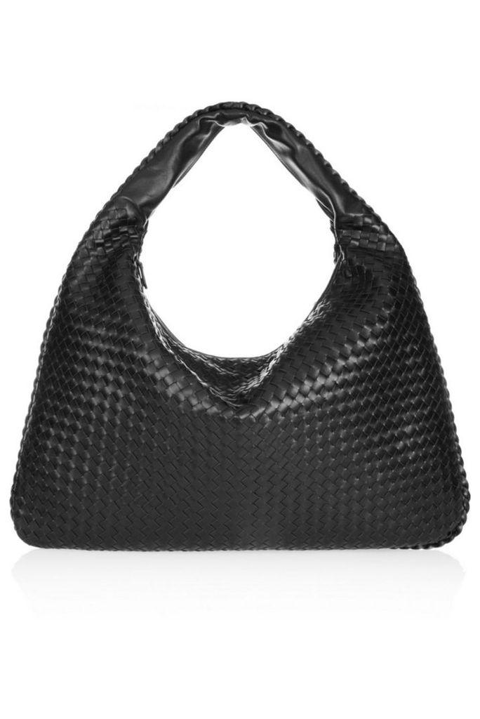 Bottega Veneta - Maxi Veneta Intrecciato Leather Shoulder Bag - Black