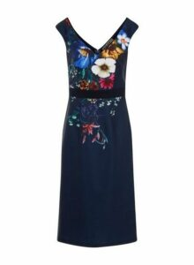 Womens *Little Mistress Navy Floral Print Wiggle Bodycon Dress- Blue, Blue