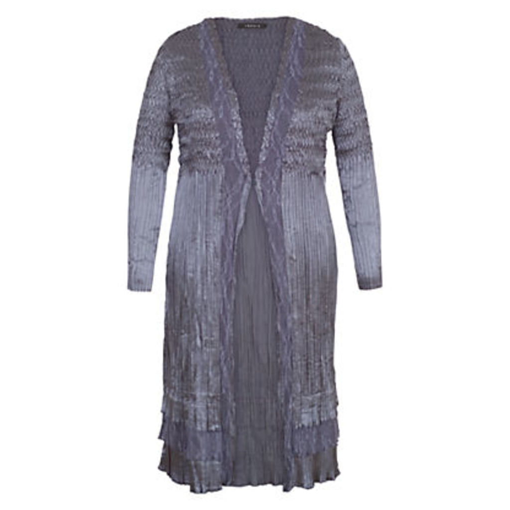 Chesca Lace Crush Pleat Coat, Steel