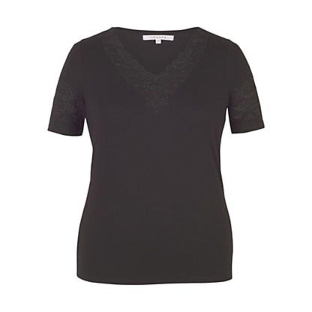Chesca Cut-Out V-Neck T-Shirt, Black