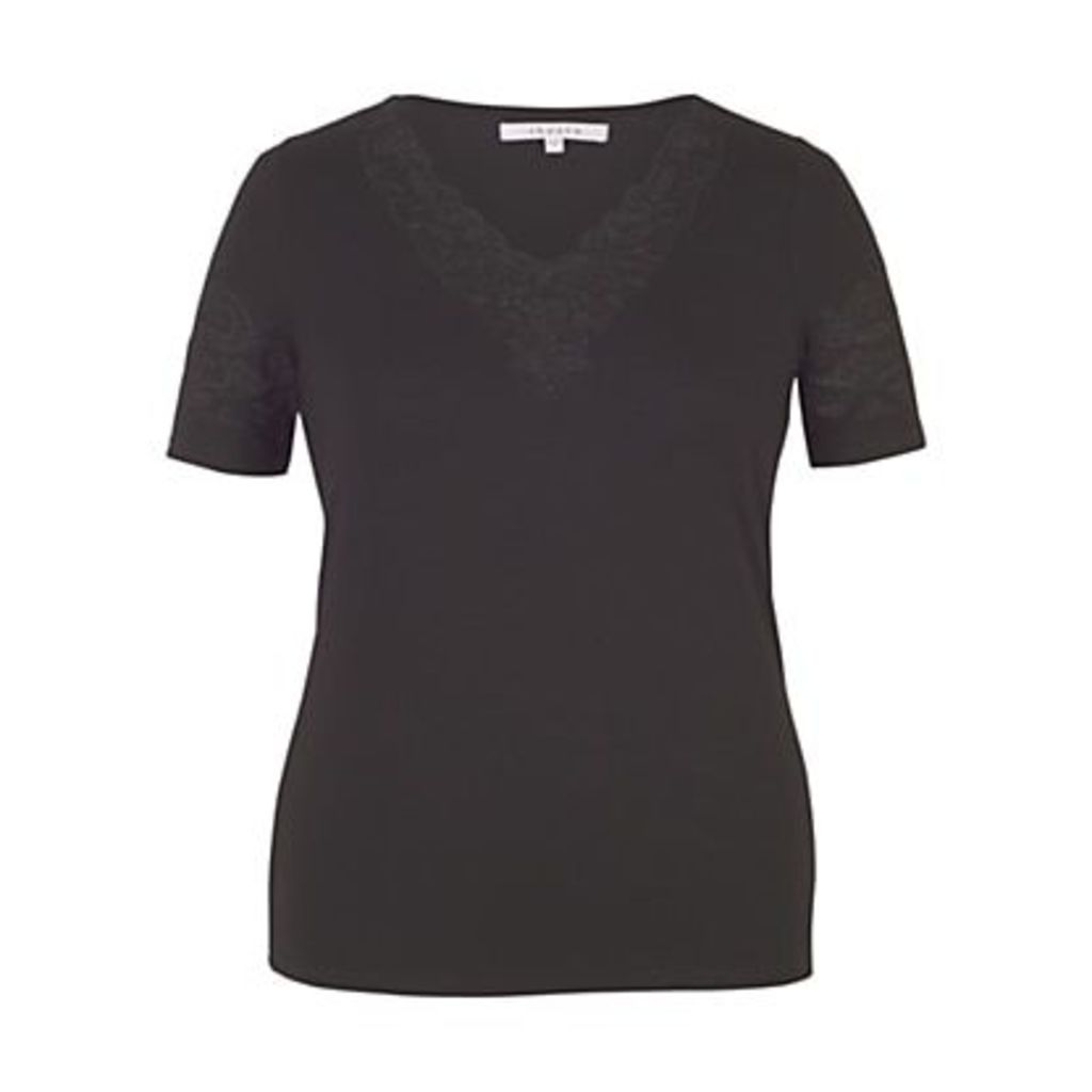 Chesca Cut-Out V-Neck T-Shirt, Black