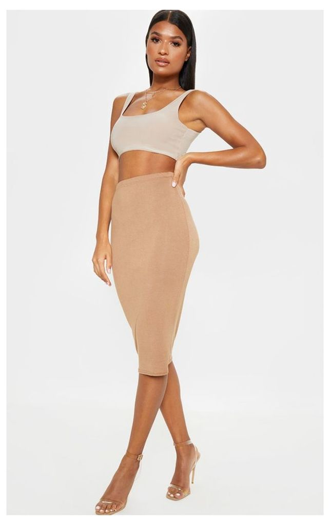 Basic Camel Midi Skirt, Camel