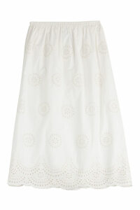 RED Valentino Embroidered Cotton Midi Skirt