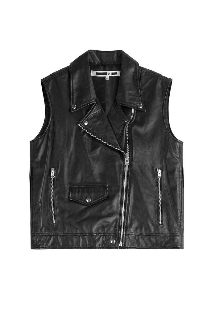 McQ Alexander McQueen Fringed Leather Biker Vest