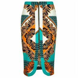 River Island Womens Green floral print split front pencil skirt