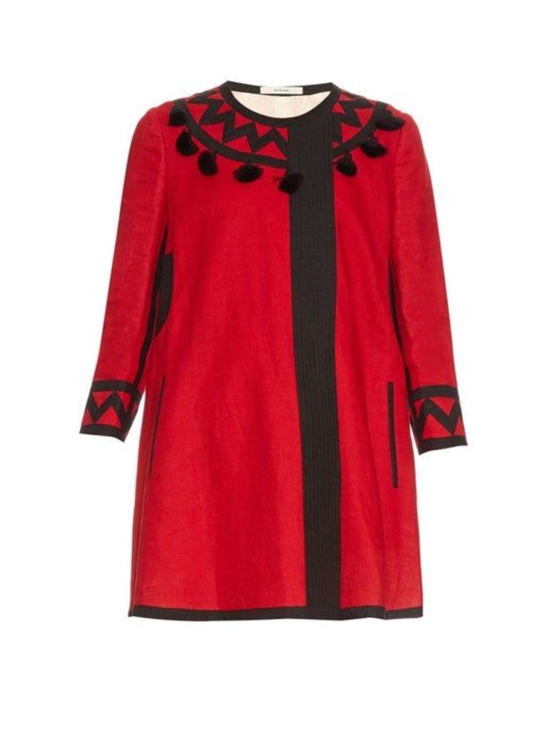 Vita Kin - Mira Tassel Embellished Linen Coat - Womens - Red