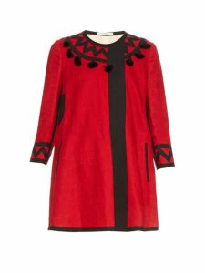Vita Kin - Mira Tassel Embellished Linen Coat - Womens - Red