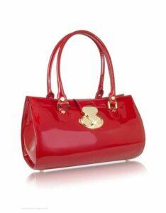 L.A.P.A. Designer Handbags, Crystal Buckle Patent Leather Barrel Bag