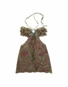 Hafize Ozbudak Designer Tops & Co, Floral Printed Ruched Front Silk Halter Top