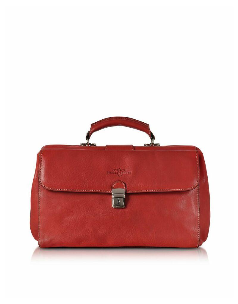 Robe di Firenze Designer Briefcases, Brown Medium Genuine Italian Leather Doctor Bag