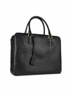 Fontanelli Designer Briefcases, Black Ostrich Stamped Leather Briefcase
