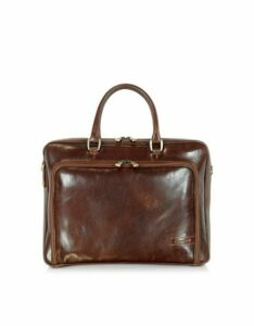 Chiarugi Designer Briefcases, Dark Brown Double Handle Leather Zip Briefcase