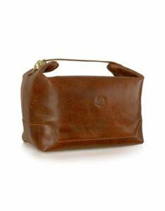 Chiarugi Designer Travel Bags, Handmade Brown Genuine Italian Leather Toiletry Travel Case
