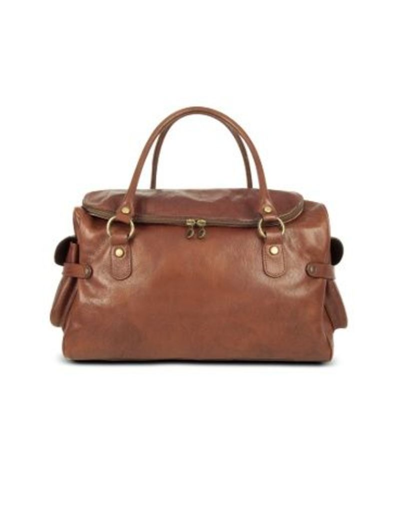 Robe di Firenze Designer Travel Bags, Large Brown Pebbled Italian Leather Carryall Bag
