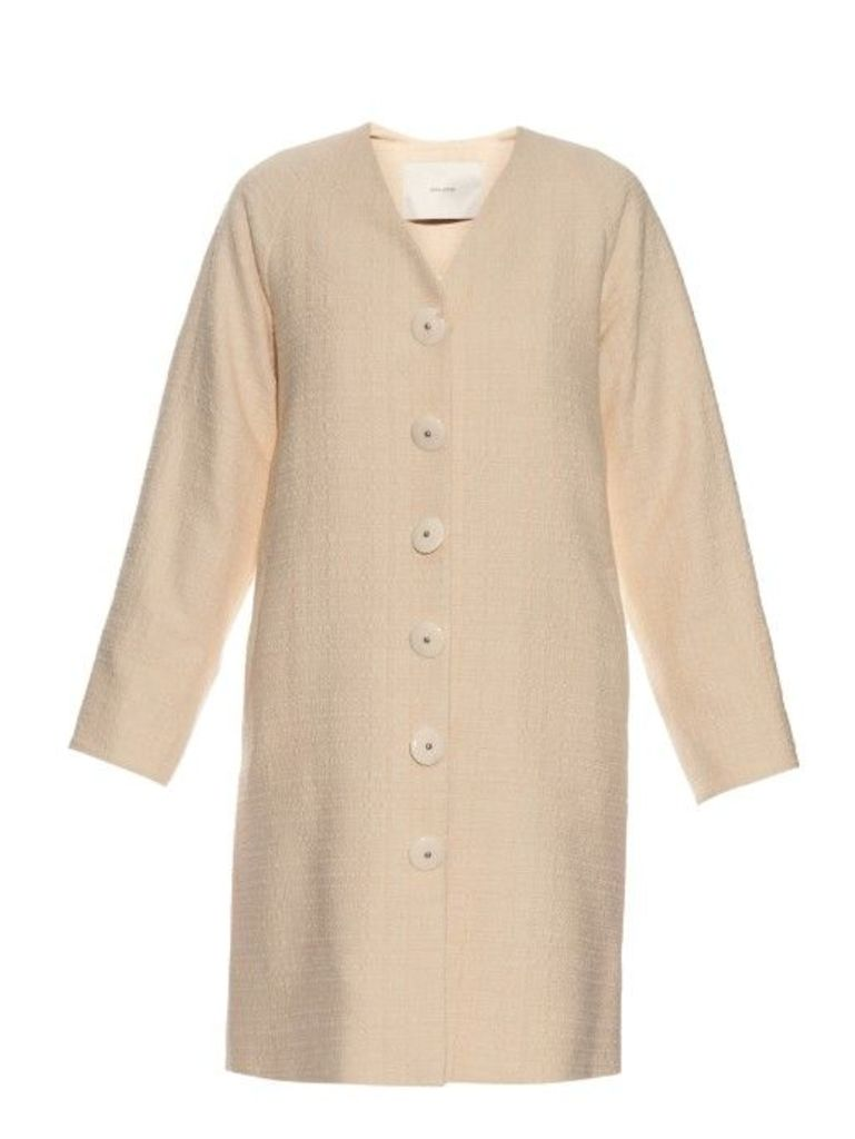Adam Lippes - Single Breasted Cotton Coat - Womens - Beige