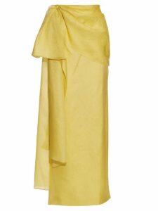 Rosie Assoulin - Hustle And Bustle Floral Jacquard Silk Blend Skirt - Womens - Yellow