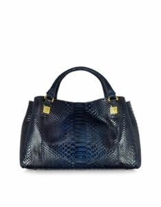 Ghibli Designer Handbags, Midnight Blue Phyton Leather Satchel Bag