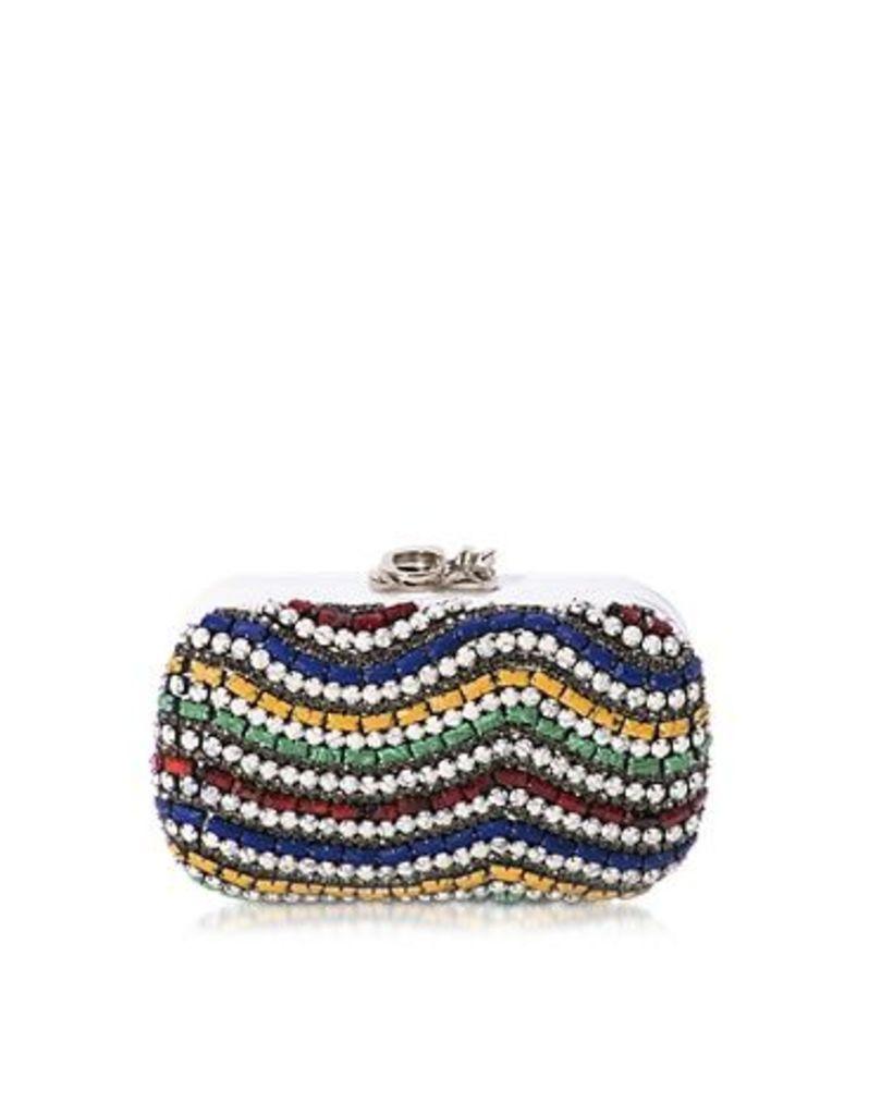 Corto Moltedo Designer Handbags, Susan C Star White Nappa Leather and Multicolor Stones Pochette w/Chain Strap
