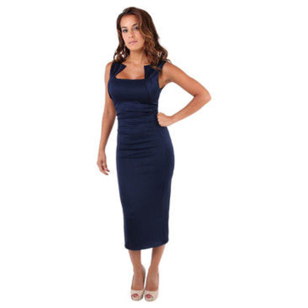 Krisp  Square Neck Bodycon Midi Dress [Navy]  women's Long Dress in Blue