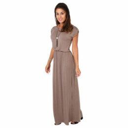 Krisp  Turn Up Sleeve Boho Style Maxi Dress [Mocha ]  women's Long Dress in Black