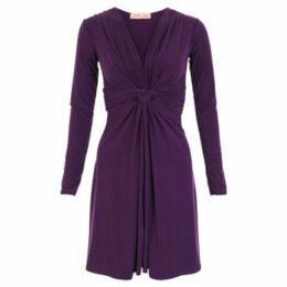 Krisp  Long Sleeved Knot Dress [Purple]  women's Dress in Purple