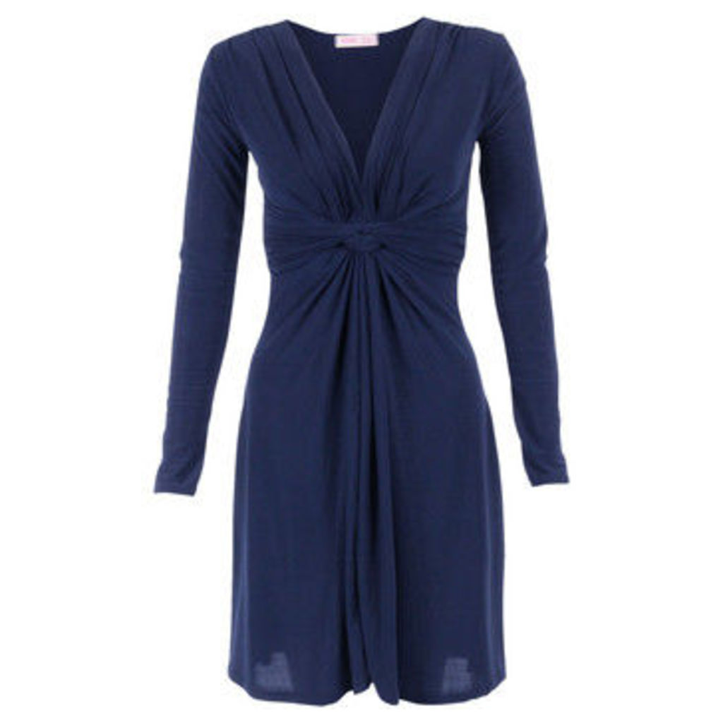 Krisp  Long Sleeved Knot Dress [Navy]  women's Dress in Blue