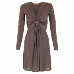 Krisp  Long Sleeved Knot Dress [Mocha]  women's Dress in Brown