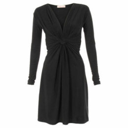 Krisp  Long Sleeved Knot Dress [Black]  women's Dress in Black