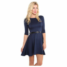 Krisp  Belted Skater 3/4 Sleeve Dress [Navy]  women's Dress in Blue