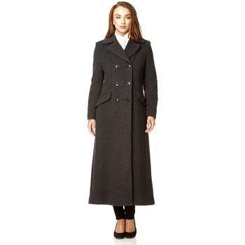 De La Creme  Double Breasted Fitted Long Coat  women's Parka in Grey