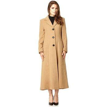 De La Creme  Double Single Fitted Long Coat  women's Parka in Beige