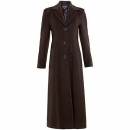 De La Creme  Double Single Fitted Long Coat  women's Coat in Brown