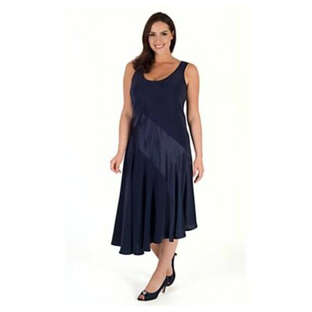 Chesca Satin Back Crepe Dress, Navy