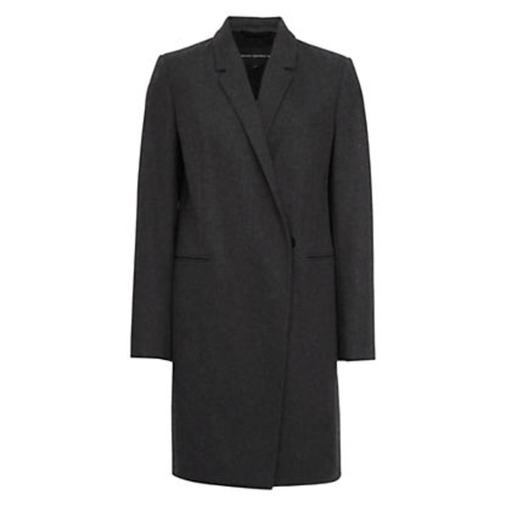 French Connection Platform Felt Long Sleeve Coat