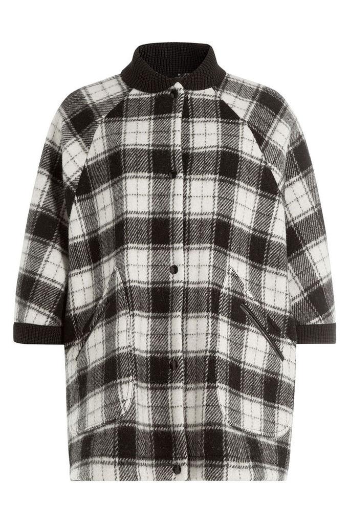 M Missoni Wool Plaid Short Sleeve Cape