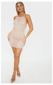 Sassia Dusty Pink Halterneck Strappy Back Lace Dress, Dusty Pink